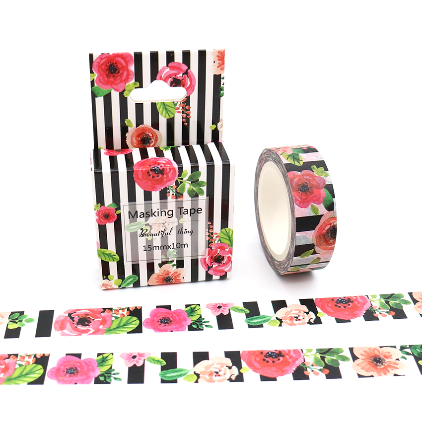 Flower And Stripe Washi Tape Excellent Quality Colorful Paper Masking Tape DIY Decorative Tapes 15mm*10m Box Package