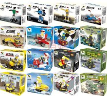 Single Sale prowl car air plane robot tanks cannon excavator Building Blocks Sets Assemblage Classic toys Best Children Gifts(China)