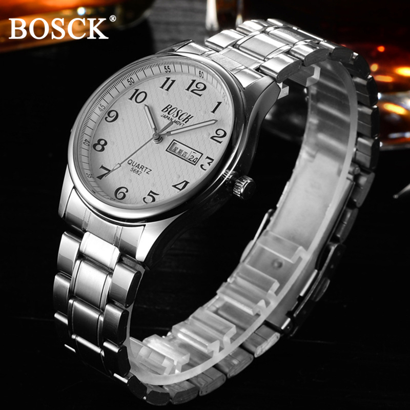 Bosck stainless steel watch men wrist watch top brand luxury quartz watches men full steel Calendar watches relogio masculino все цены