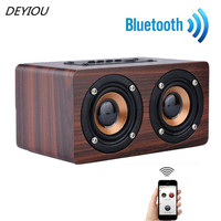 Wooden Portable Bluetooth Speaker Wireless Retro Bluetooth Speaker 3D Dual Loudspeaker USB Cable Free Shipping NOM08