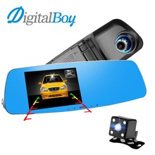 Best price Digitalboy 5.0 inch Novatek 96655 Car Mirror Dvr Full HD 1080P Recorder Car Rearview Camera Video Camcorder Dual Lens Dash Cam