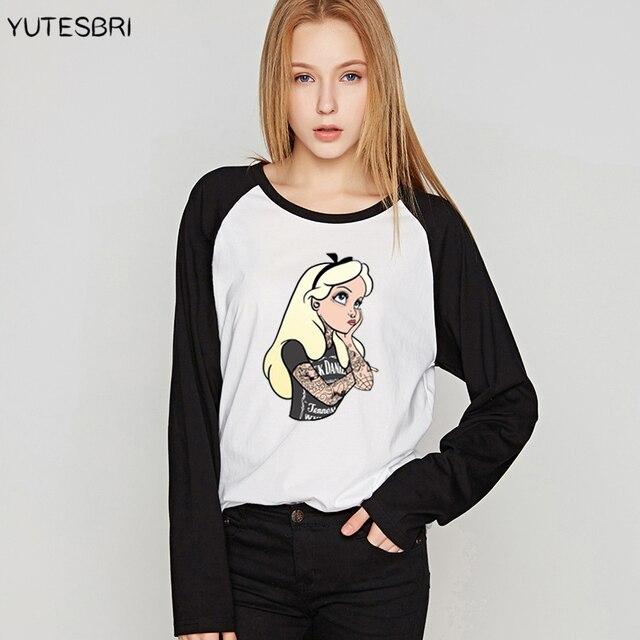 1676e0611994 2017 Spring Autumn Women Tee Shirts Bad Girls Alice Snow White Shirt Long  Sleeve Tshirt The Little Mermaid Princess Tops Tees