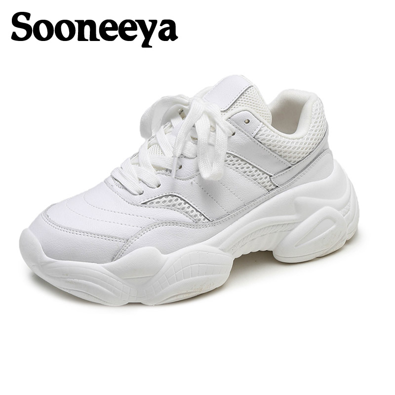 Sooneeya Breathable White Women Running Shoes Height Increasing Woman Sneakers Beige High Quality Lady Sneakers Zapatillas Mujer Сникеры