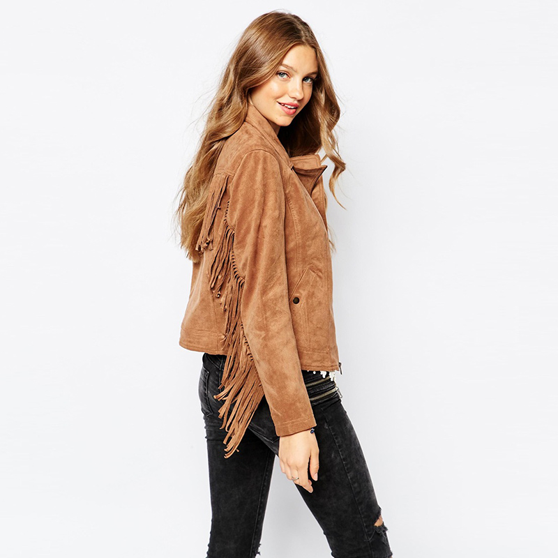 2019 women's hot sale fashion basic jackets button pockets tassel suede bomber jackets NEW winter coats Brown Tassel outerwear
