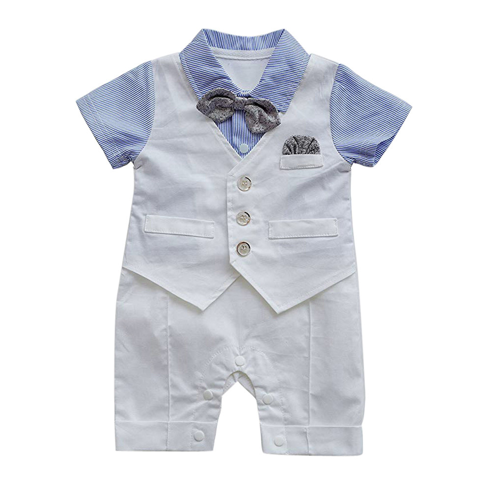 Infant Baby Boys Cotton Solid Short Sleeve  Gentleman Waistcoat Bowtie Tuxedo Jumpsuit Romper Outfits