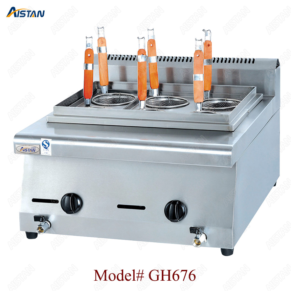 GH676  6-basket gas counter top pasta cooker for commerical useGH676  6-basket gas counter top pasta cooker for commerical use