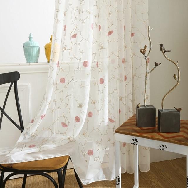 Americana rústico cortina de voile bordado margarita blanca sheer ...