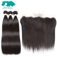 Allrun Ear To Ear Lace Frontal Closure With 3 Bundles Brazilian Straight Human Hair Weaves With