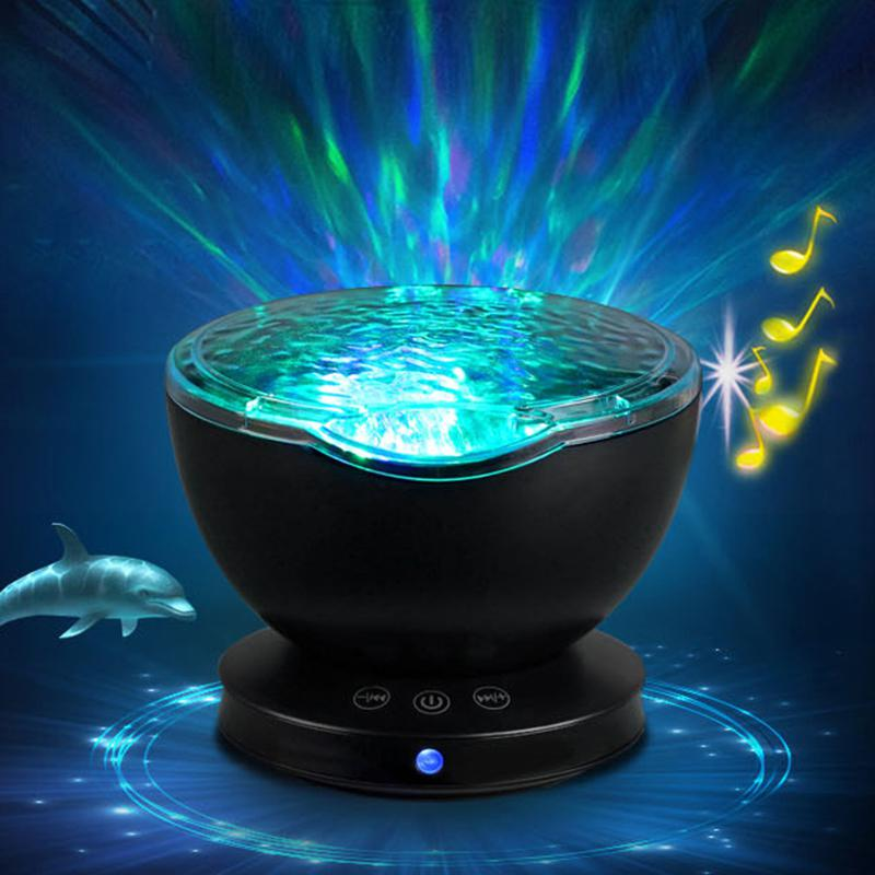 HobbyLane Multifunction Magical Ocean Wave Projector Atmosphere Projection Lamp with Built-in Music Speaker for Kids Adults