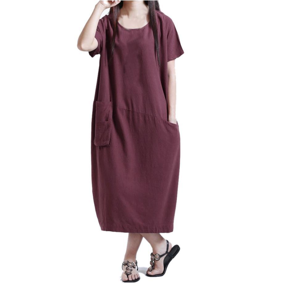 Summer Dress 2019 Women O-neck Short Sleeve Casual Dress Cotton And Linen Loose Patchwork Dress Vestidos Verano 2019 Dresses