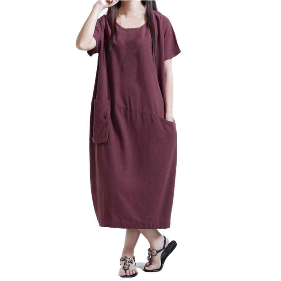 9b779c28d8dc Cotton Linen Kaftan Dress Short Sleeve Loose Pocket Long Bohe Dresses Women  Casual Straight Dresses Floor