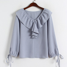 Ruffle Long Sleeve Blouse Autumn New V-neck Solid Color Chiffon Womens Korean Style Kawaii Sweet Blue White Shirt Women