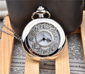1PC Classic Vintage New Silver Tone Necklace Watch Pocket Watch Battery Hollow
