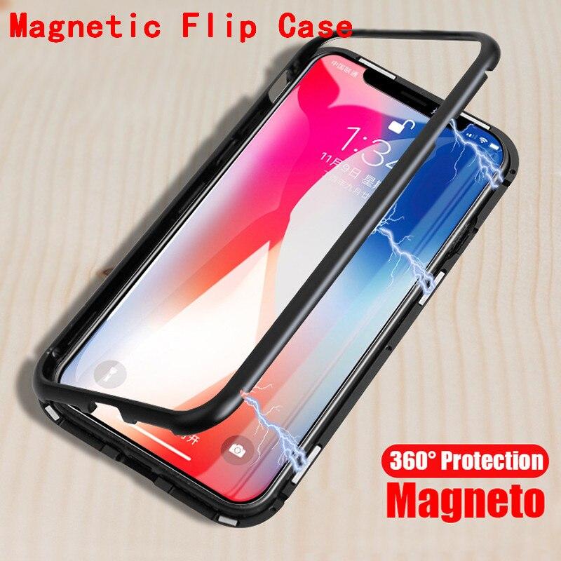 Magnétique Adsorption téléphone cas pour iphone X 7 8 plus cas métal cadre trempé couvercle en verre pour iphone 7 8 X de luxe fundas YAGOO