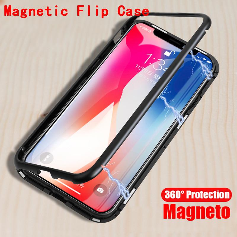Magnetic Adsorption phone case for iphone X 7 8 plus case metal frame tempered glass cover for iphone 7 8 X luxury fundas YAGOO