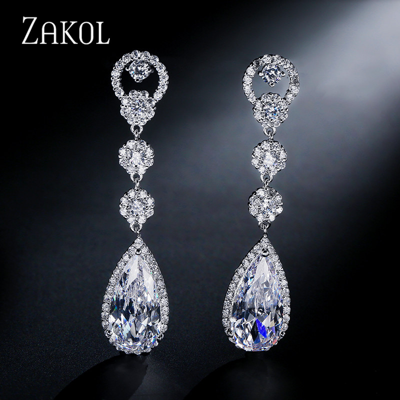все цены на ZAKOL Fashion Water Drop Cubic Zirconia Crystal Long Dangle Drop Earrings Bridal Wedding Jewelry For Elegant Women FSEP311 онлайн