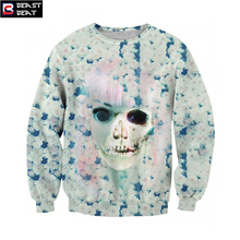 2017 New Halloween Skeleton Girl Pink Plum Sweater Women Exercise Beast Beat Sports Warm Breathable Basketball Running Sweater