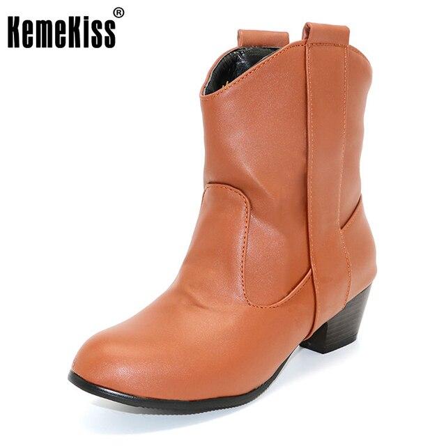 KemeKiss women high heel half short ankle boots winter martin botas fashion footwear warm heels boot shoes P1683 size 34-43