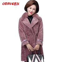 Plus size autumn winter coats faux fur Women's middle aged women's fashion medium long Parkas sheep sheared coat female 2019 New