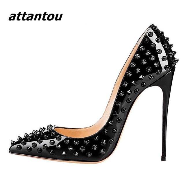8df1e8bc485d New Stylish Rivets Pointed Toe High Heels Luxury Black Patent Leather  Stiletto High Heel Pumps Wedding