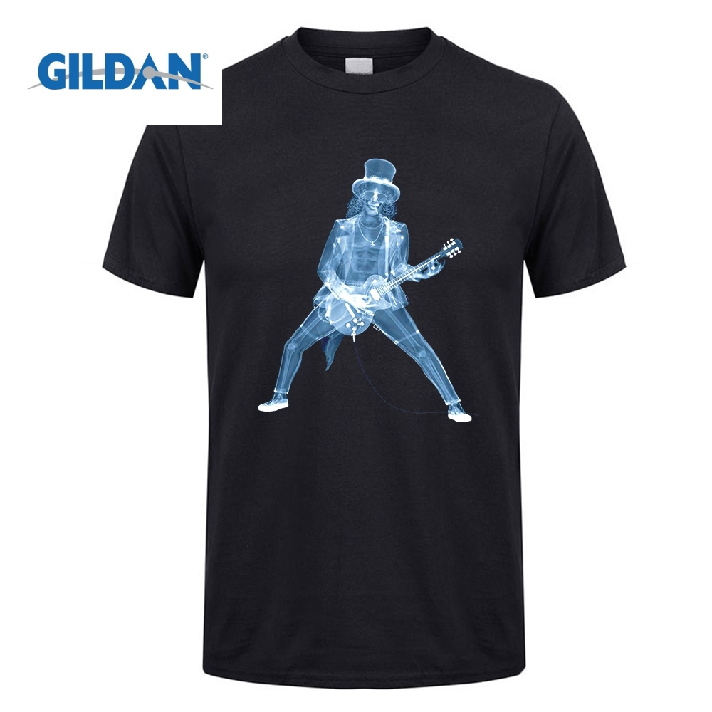 GILDAN Music T Shirt Slash X-Ray Gun Rose Funny Design Men Crew Neck Short Sleeve T-Shirt Designing Men Oversized Tees Custom