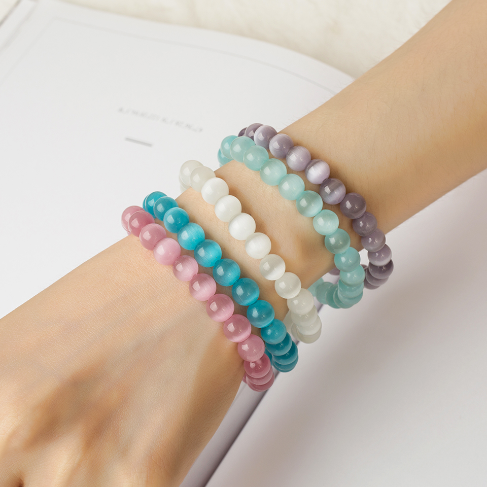 Fashion Natural Stone Love Purple White Sea Blue Pink Bead Bracelet Charm Round Chain Beads Bracelets Jewelry Women Friend Gifts