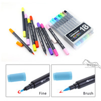 Art And Graphic Drawing Manga Water Based Ink Twin Tip Dual Nip Brush Sketch Marker Pen