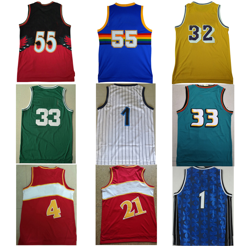 Tank tops Dikembe Mutombo Shaquille O'Neal Larry Bird Earvin Johnson Grant Hill Spud Webb Dominique Wilkins Dwyane Wade jerseys(China)