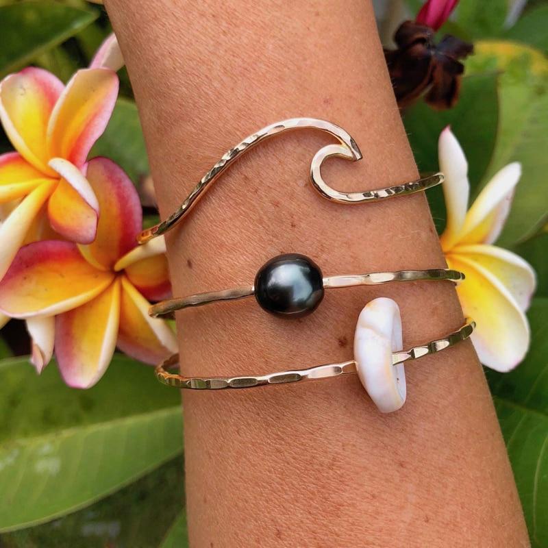 Aliexpress Hawaiian Cone Shell Bangle Tahitian Shells Hammered Bracelets Hawaii Beach Jewelry Surfer Mermaid Ocean Summer Bangles From