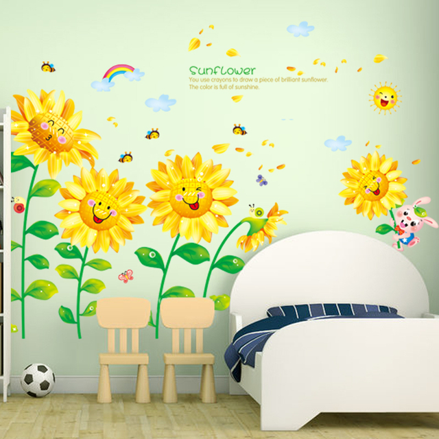 Hot Sales Removable Sunflower Wall Sticker Creative Turnsoles Wall Decals  DIY Flowers For Living Room Kids