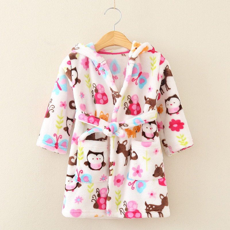 Children print gown sale 1 pc lot The new fashion cute 100 Coral fleece free shipping