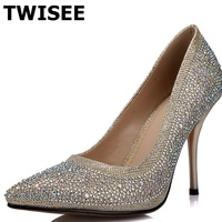 TPR Wedding Thin Heels 9 Cm Ladies Women High Heels Shoes Sequined Cloth Summer Pumps Pointed
