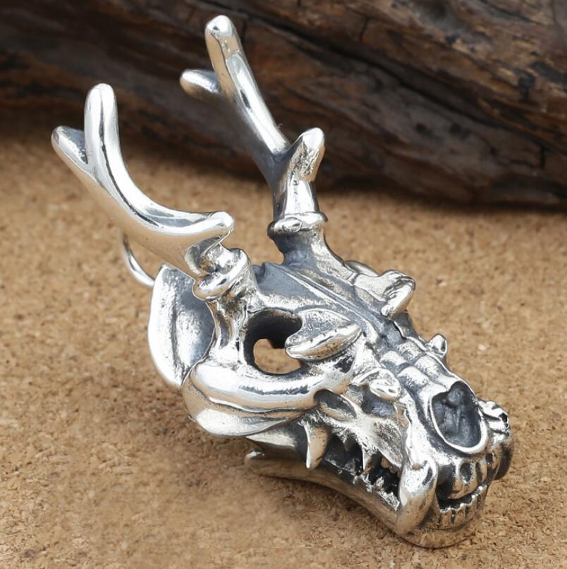 925 sterling silver fashion jewelry deer head skull pendant FGL