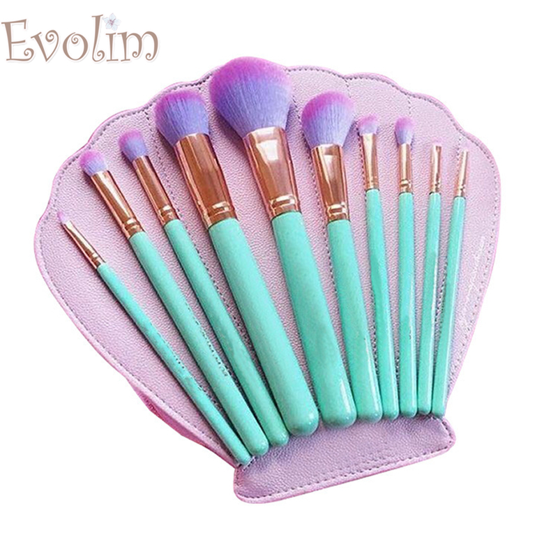 EVOLIM Hot 10 Pcs Set Makeup Brushes Shell Bag Makeup Brush Set Brush Makeup Brush Tools Cosmetic Bag hot pink apple shaped makeup brush cleaner