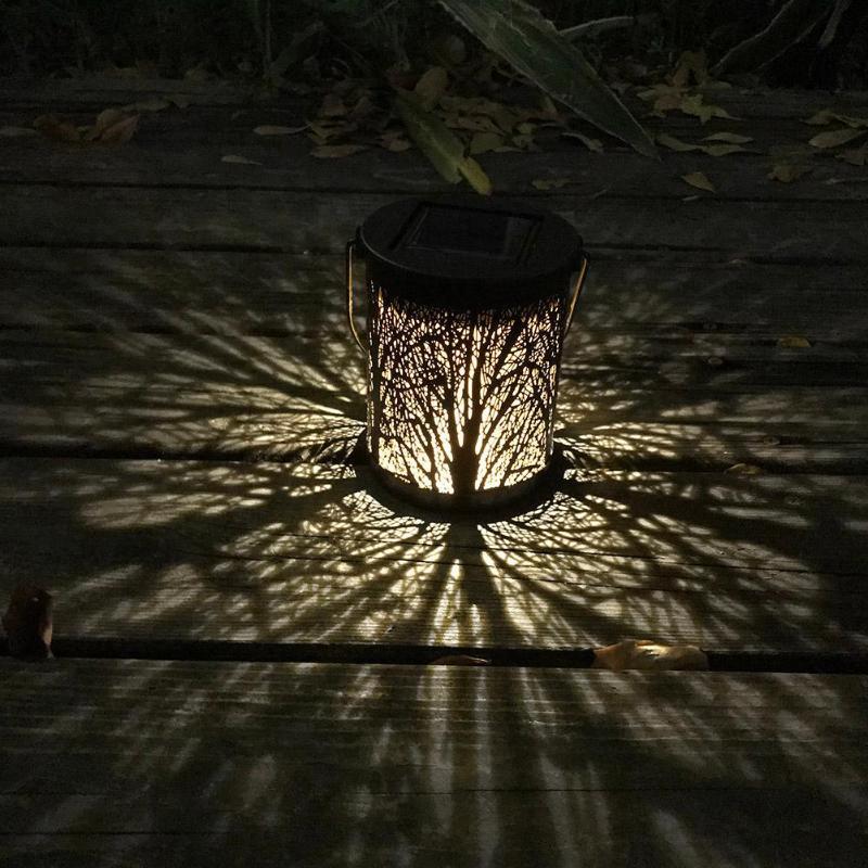 1.2V Outdoor Lighting Solar Powered LED Hanging Light Garden Lawn Metal Rattan Decoration Lamp Warm White Solar Garden Light