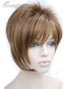 Image 1 - 強力な美少女合成天然ウェーブ短辺部ブロンドかつら前髪とスマートヘアスタイル若い女性のためのコスプレかつら