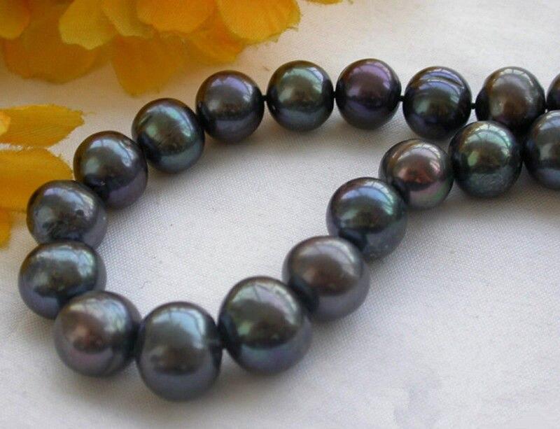 НОВЫЙ 003N НОВЫЙ 10 11 мм Чистый Черный Пресноводные Культивированный Жемчуг Ожерелье