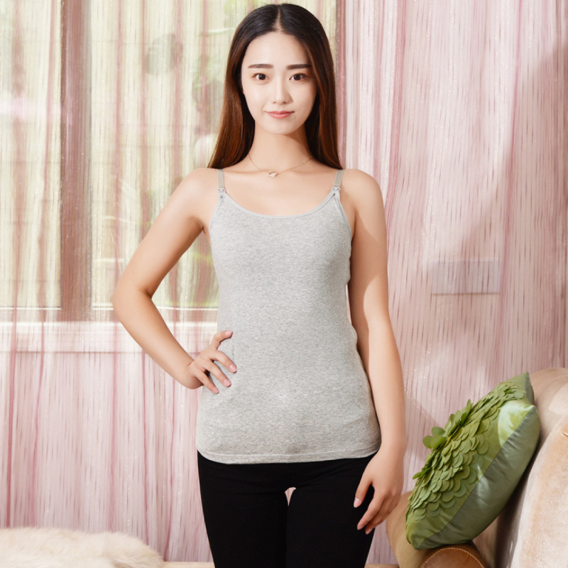 e58031a5413 Maternity Women Nursing Camisole Padded Breastfeeding Tops Casual Summer  Tank Top Vest Cotton Pregnant Strap Tops Camis 7 Colors-in Tanks & Camis  from ...