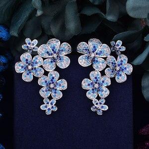Image 3 - GODKI 48mm Flower Boom Luxury Trendy Full Mirco Paved Cubic Zirconia Naija Wedding Drop Earring Fashion Jewelry