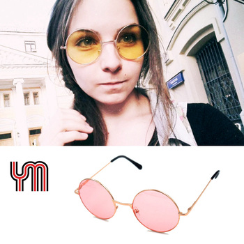 YM Women Round Sunglasses Men Steampunk Glass Shades MultiColor Gradient Mirror Lens Designer Vintage Sun Glasses 030-263