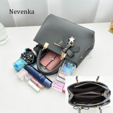 Nevenka Women Leather Bag Brand Designer Bow Star Pendant Handbag Fashion Solid Style Shoulder Bags Luxury Casual Tote 2017 New