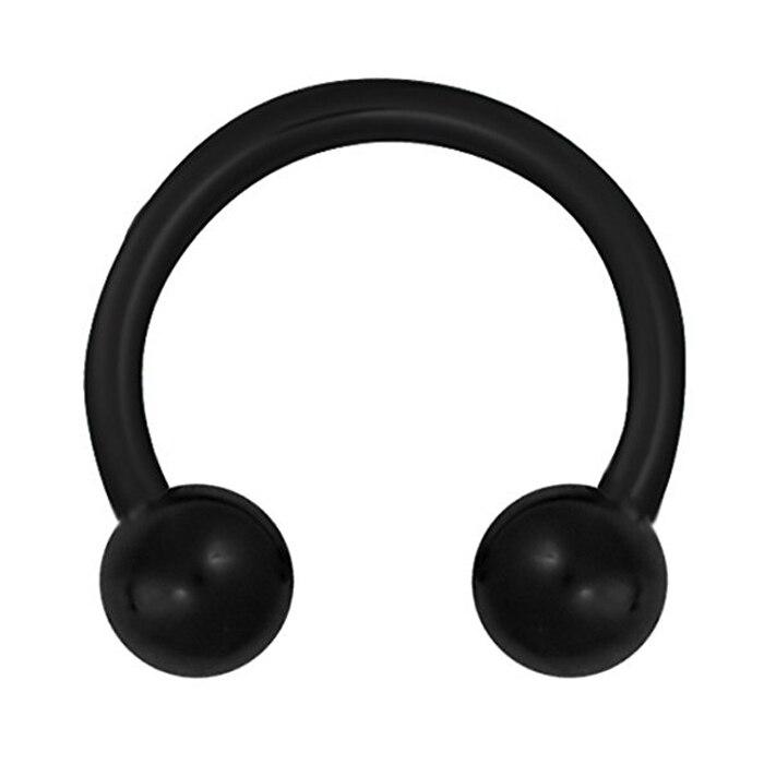 Stainless Steel Spike Horseshoe Ball Septum Nose Ear Rings Black