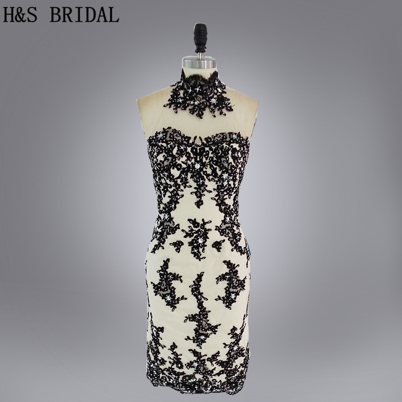 Real Model High neck black lace sexy cocktail dress