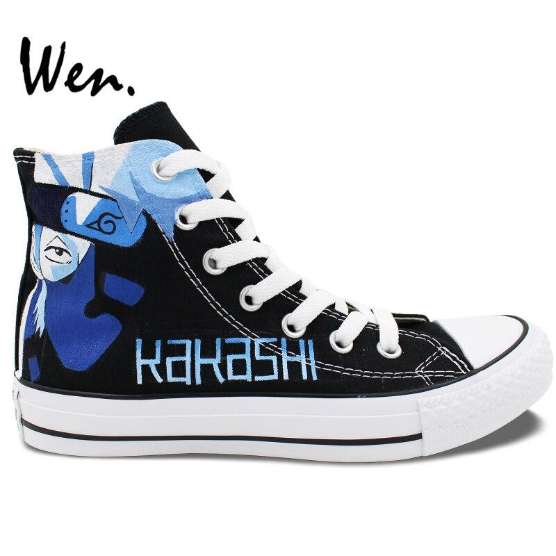 Wen Hand Painted Anime font b Shoes b font Naruto Kakashi Lee Men Women s High