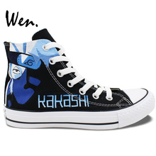 Wen Hand Painted Anime Shoes Naruto Kakashi Lee Men Women's High Top Black Canvas Sneakers Birthday Christmas Presents