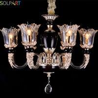SOLFART Chandelier Lustr Glass Crystals For Chandeliers Lustre Industriel Black Chandelier Candle Holder Branch Chandelier 6178