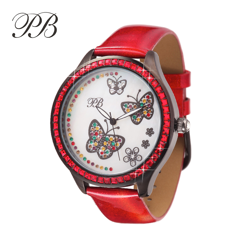 2016 Dress Leather Watch Butterfly Flower Floral Crystal Luxury Watch Women ladies Fashion Quartz Watches Red HL534T PB