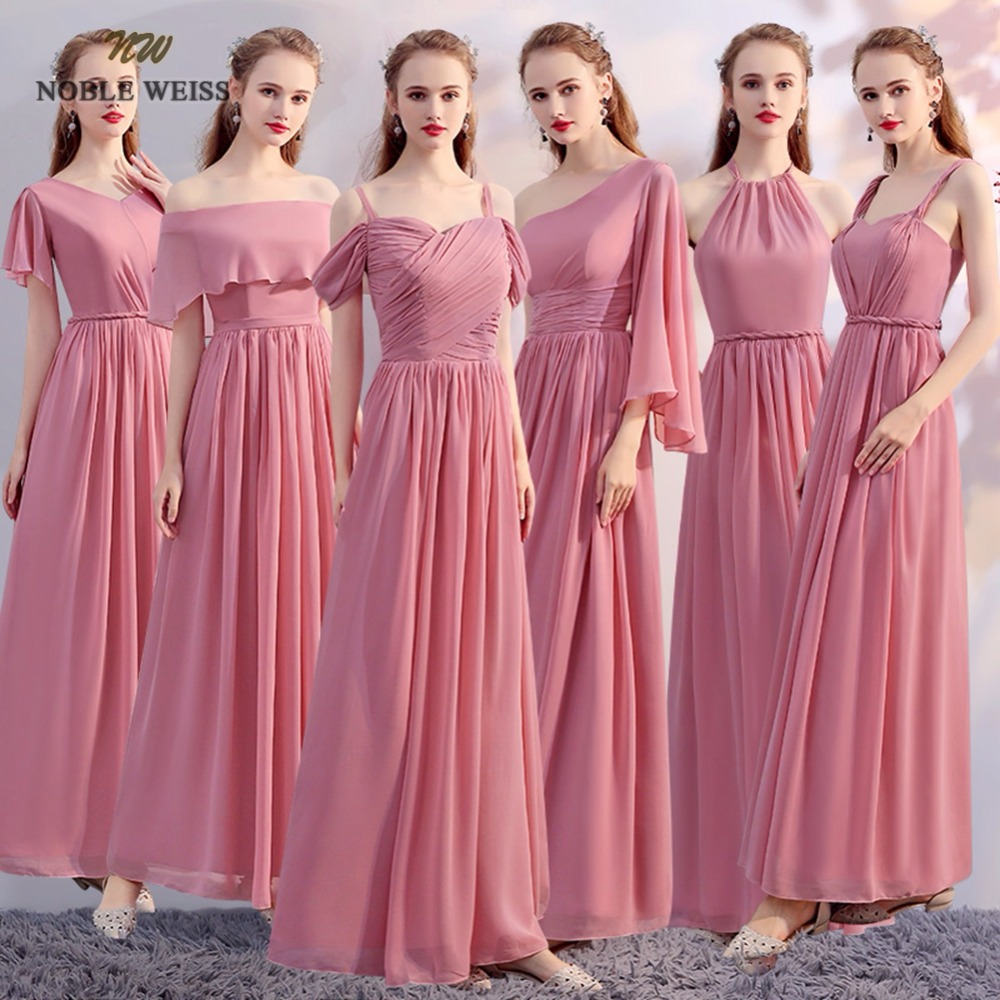 NOBLE WEISS In Stock Chiffon Floor-Length Pink   Bridesmaid     Dress   Cheap A-Line Pleat Party Prom   Dresses   Junior   Bridesmaid     Dresses