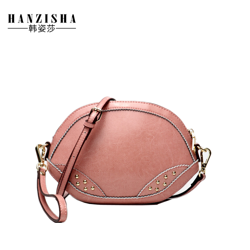 2018 Fashion Genuine Leather Women Bag Famous Brand Bag Cow Leather Rivet Small Crossbody Shell Bag Women Crossbody Clutches Bag cylinder shaped rivet crossbody bag