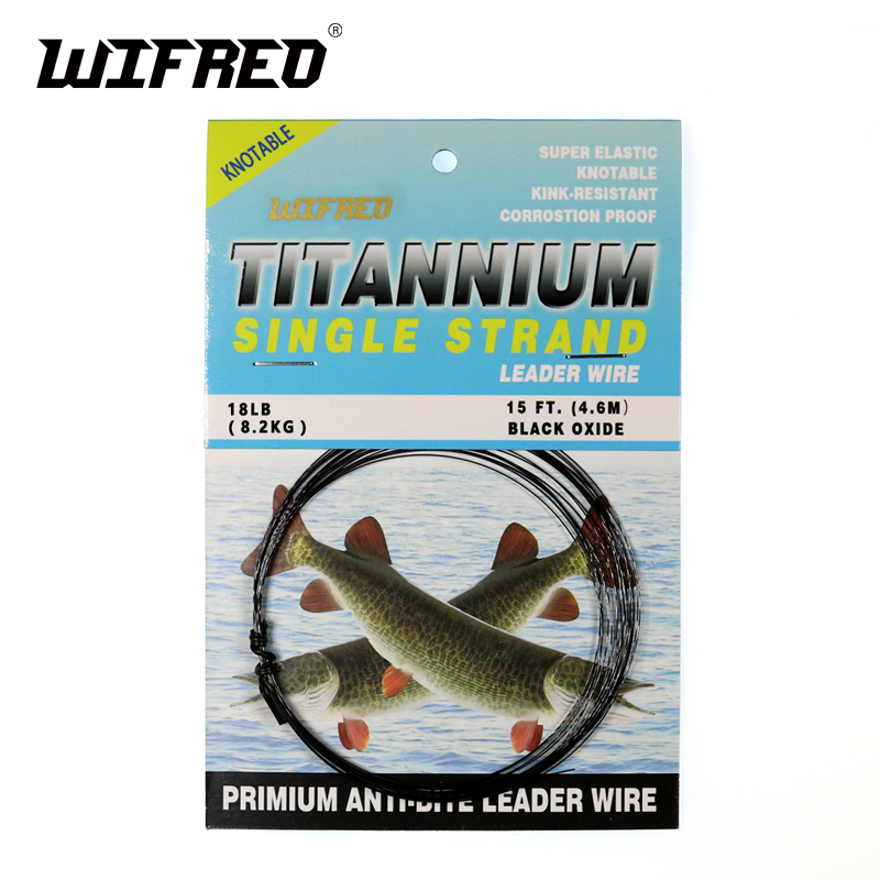 Wifreo 15ft/4,6 M No torcedura de titanio líder línea de agua salada Pike pesca Líderes/rastro volar atando mueve la cola un cable de enlace